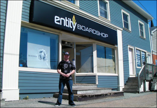 Bedford merchant Rob McLeod stands outside his new store, Entity Boardshop. The store is set to open on May 9.