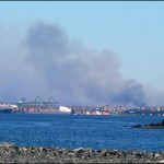 View of the Spryfield fire from the Bedford waterfront at about 7:10 p.m.