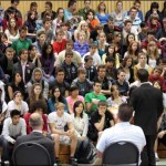 Green Party candidate Neil Green addresses students at CP Allen High School on Tuesday.
