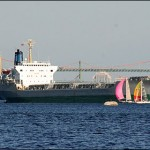 Sailboats race around an anchored ship in the Bedford Basin on a warm and sunny Wednesday evening. Photo: Reed Holmes