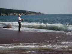 Fishing at Broad Cove Beach