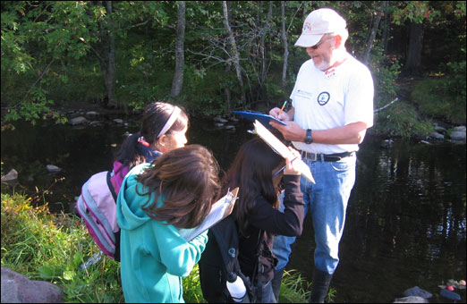 Bedford South School studends get a lesson from Mr. Scott of the Sackville River Association. As part of the River Rangers program students learn about the various fish that live in the river.