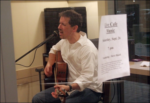 Bedford resident and musician Stephen Hazel played a gig at the Dartmouth Crossing Second Cup on Saturday night.