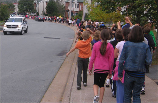 Throughout September schools throughout Bedford participated in the Terry Fox run/walk. On Wednesday, Bedford South School students show their support and enthusiasm for the fight against cancer.