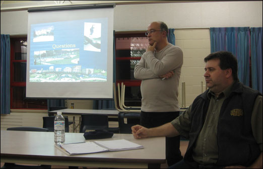 B SPAT Chair Mark Ward of (left) and HRM Community Developer Darren Hirtle listen attentively to questions and comments from B SPAT members and Bedford residents hoping to get a skate park in Bedford.