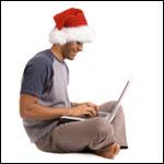 Christmas surfer on computer