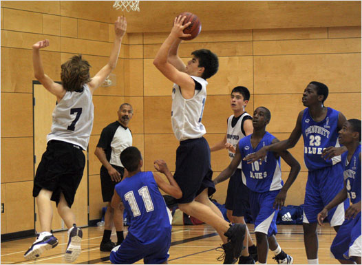 Bedford's Jesse Boudreau drives to the basket during a game against Quebec's Dawson Community Blues at the Under-14 Eastern Canadian Championships at Citadel High School on Friday. The Eagles lost 80-62.
