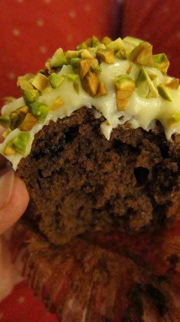 Chocolate Brownie Muffins with Cream Cheese Frosting Pistachios