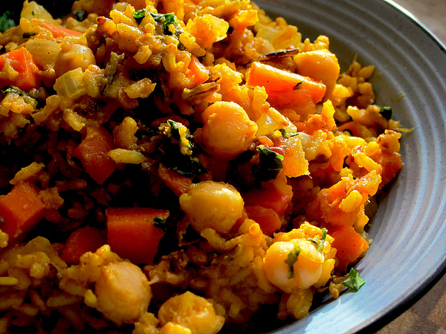 Fragrant Sweet Curried Rice, Kale Chickpeas