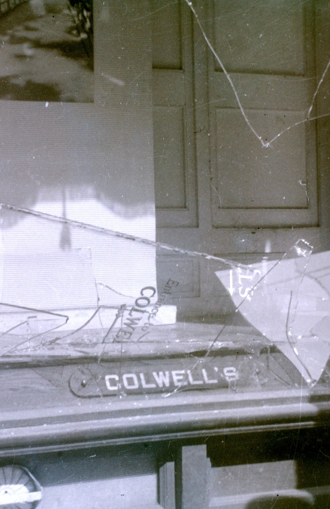 Colwell Brothers Window Smashed Out after the Riot