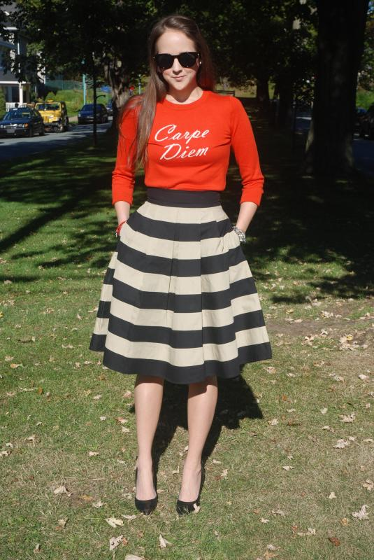 Fall Fashion, Jumpers, Pullovers, Orange, Burnt Orange, Stripped skirts, Sunglasses, Polette Eyewear, Sunnies, Canadian Blogger, Instyle, Canadian Fashion, Style Blogger, Outfits,