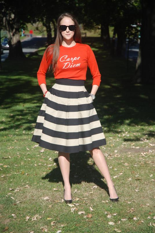 Carpe Diem, Banana Republic Pullover, Eshakti Contrast Color Block Stripe Skirt.