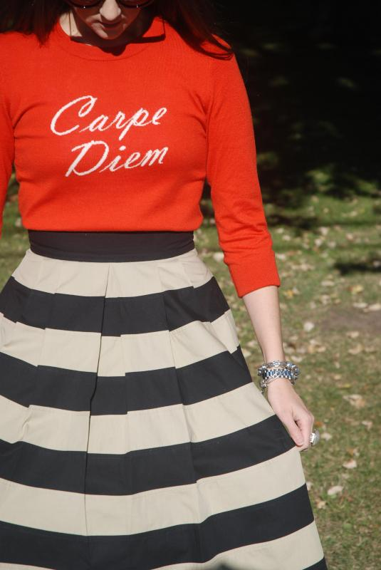 Seize the Day, Vintage Dresses, Full Skirt, 50s style, Vintage, Orange, Fall Fashion, Fall outfits, Lookbook, Logo Sweaters, Stripes