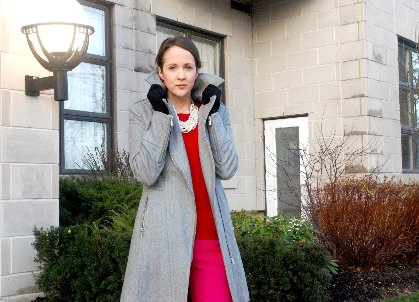 Zara Canada, Holiday looks, Pink and Red, Zara Canada, Gray Coat, Style Panel, Fashion Magazine, Stylelist Canda