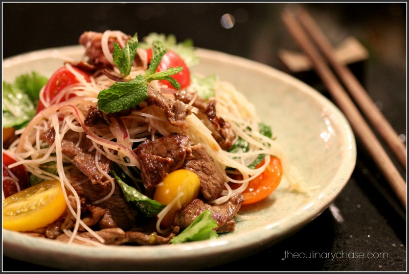 Asian Style Rice Noodle Beef Salad by The Culinary Chase