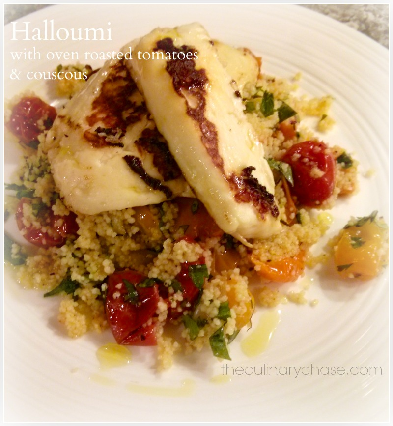 halloumi with oven roasted tomaotes & couscous by The Culinary Chase