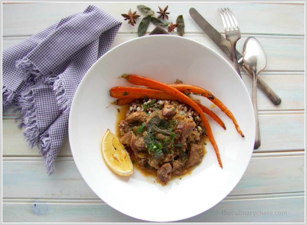 braised lamb with roast carrot & mixed grains by The Culinary Chase