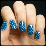NOTD: Dot pattern featuring Essie Hide and Go Chic. #notd #essie #nailart #blue #sgnailartpromote #craftyfingers #nailit #nailpolish #manicure