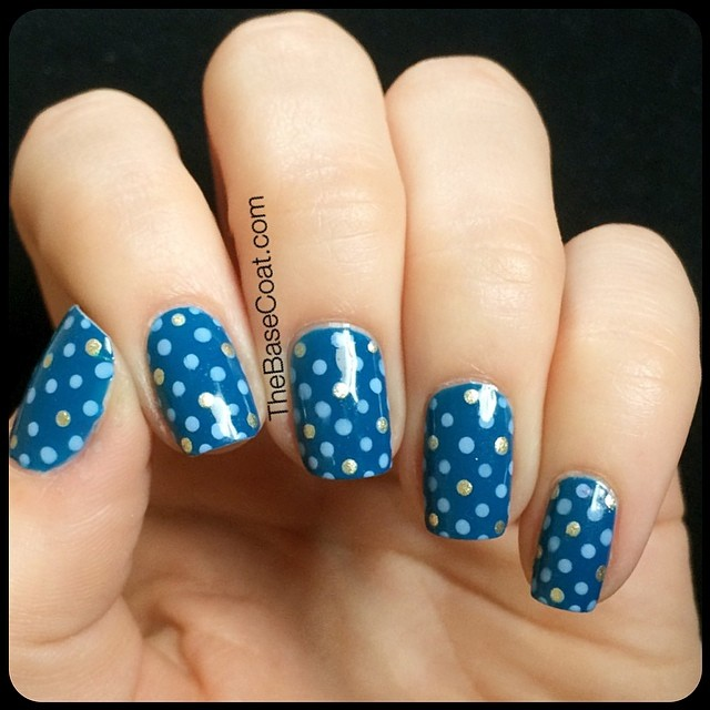 NOTD: Dot pattern featuring Essie Hide and Go Chic. #notd #essie #nailart #blue #sgnailartpromote #craftyfingers #nailit #nailpolish #manicure