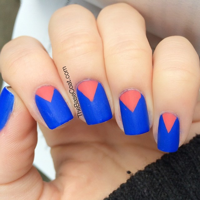 Color block chevrons with @essiecanada Butler Please and @opi_products I Eat Mainely Lobster.