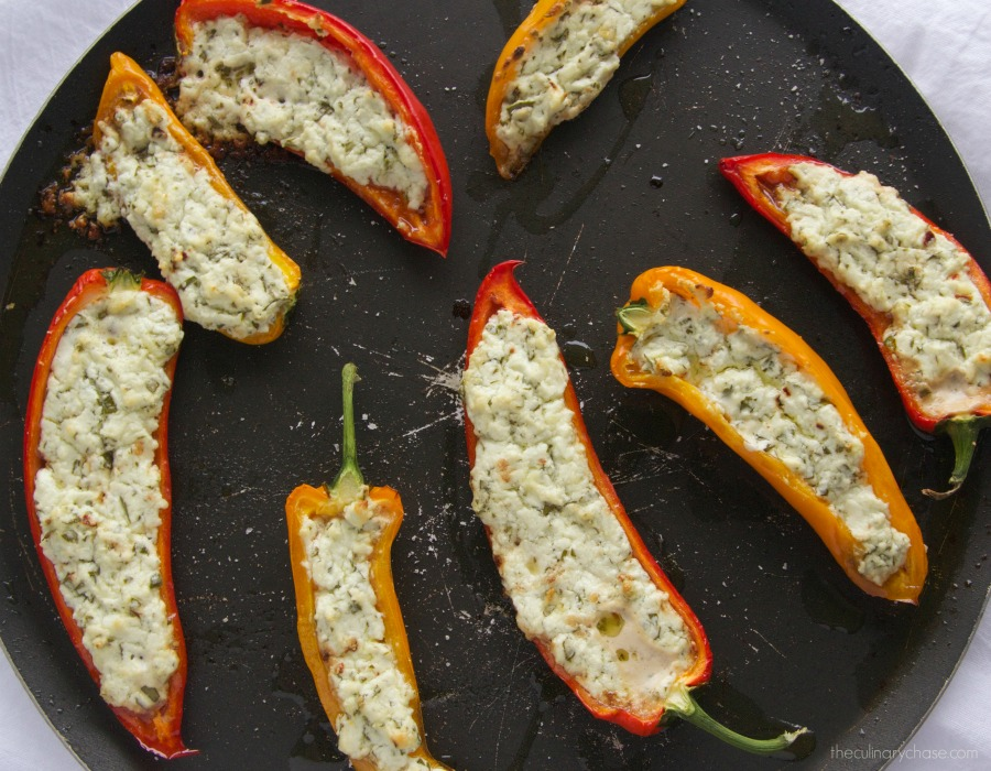 Goat Cheese Stuffed Baby Peppers by The Culinary Chase