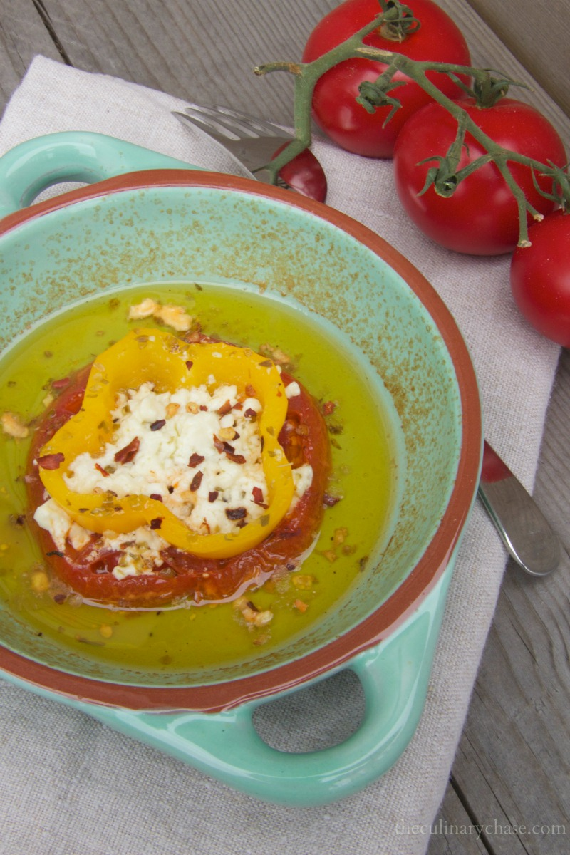 baked feta with tomatoes & peppers by The Culinary Chase