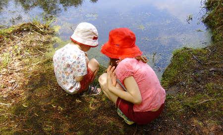 Kids exploring lake