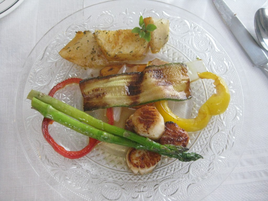 Main course at Mag Pyes, featuring Digby Scallops