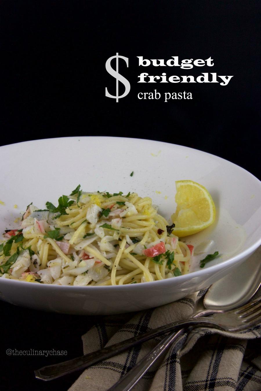 budget friendly crab pasta