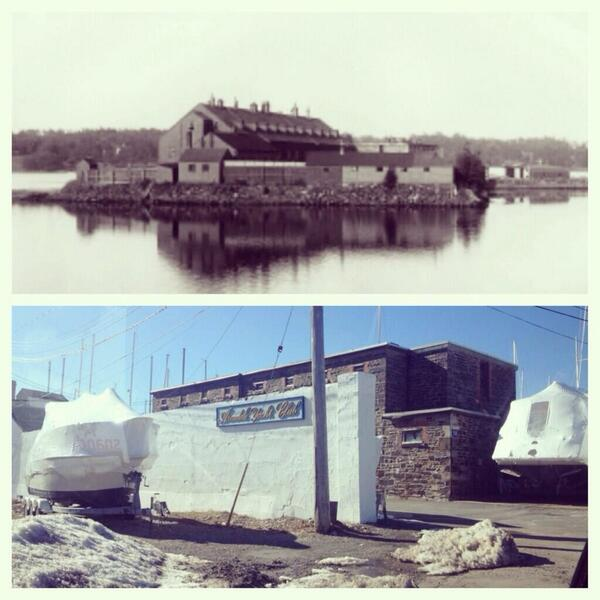 A before and after shot of Melville Island Prison, which is now Armdale Yacht Club