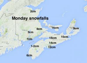 Monday snowfalls