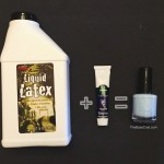 How to add color to clear liquid latex: pour liquid latex into a clean and empty polish bottle of your choice. Add 1/4 of a tsp of acrylic paint and mix.