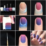 1. Gather your polishes! I like to have my bottles opened before I start. For this look, I used an opaque white, pink, purple, blue, and liquid latex. 2. Paint on your base coat.