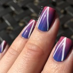 NOTD: blue to pink gradient with a white freehand chevron moon outline! Products used are OPI Just Lanai-ing Around, OPI Lost My Bikini in Molokini, Essence Via Airmail!, and Zoya Purity.