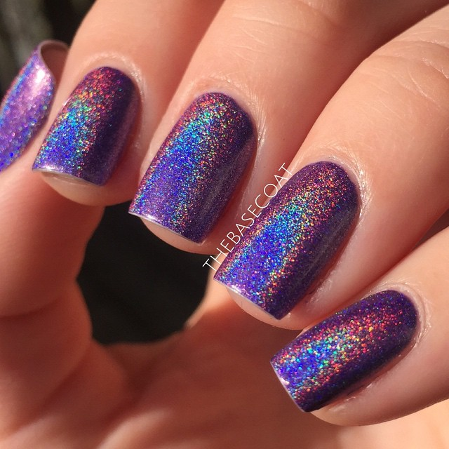 Color Club Eternal Beauty. This polish is opaque in 2-3 coats and is gorgeous in the sun! Look at those rainbows! I bought this from NailPolishCanada.com
