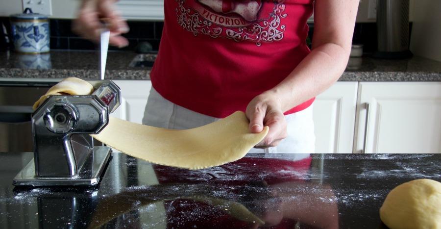 pasta dough passing through machine