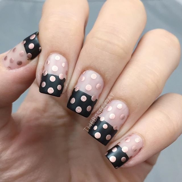 Inspired by a post by @essiecanada ?? Products used are:  Essie Licorice  Essie Penny Talk  Essie Matte About You @WhatsUpNails Skinny Straight Tape (to get the straight line between my natural nail and the black tip) & A medium size dotting tool for the dots