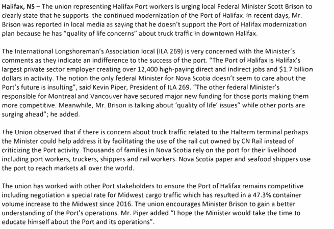ILA269 Urges Feds to Support Port of Halifax.