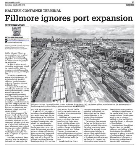 To save jobs the Halifax Shipyard should build a port in Dartmouth. Weekly News #21