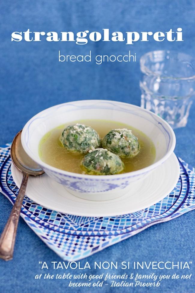 strangolatreti (bread gnocchi with spinach & Parmesan)