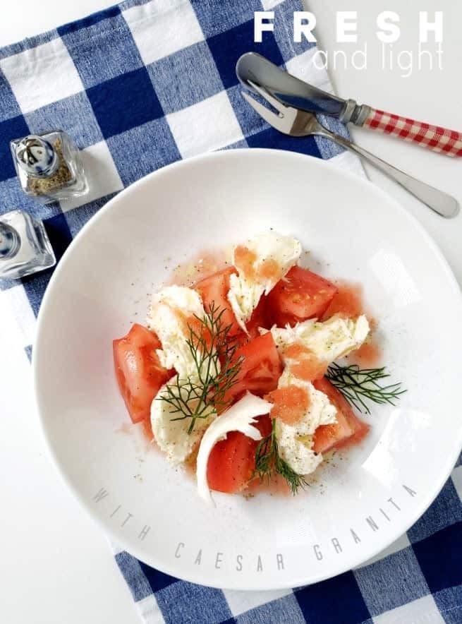 tomato & fresh mozzarella with Caesar granita